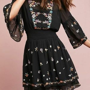ANTHROPOLOGIE Anfisa Embroidered Tunic Dress sz 10